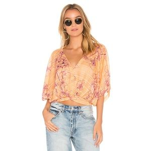 Free People One Dance Floral Print Coral SS Top